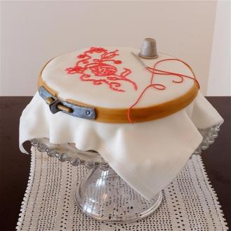 Red Work Cake